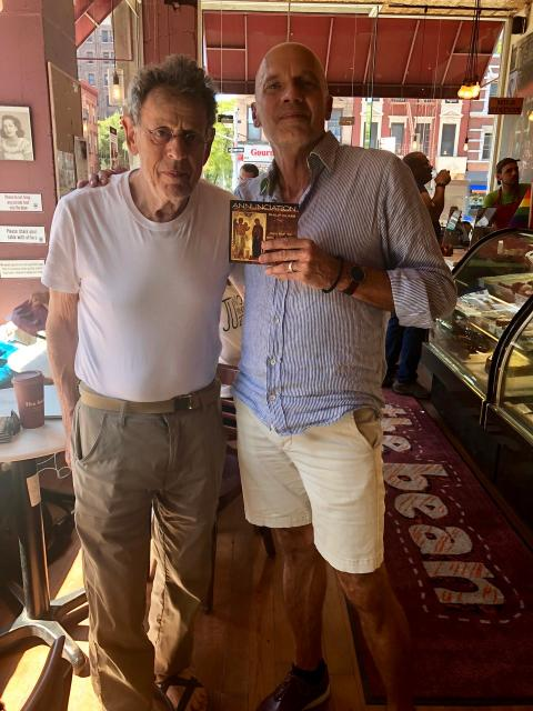 "Composer Philip Glass with Paul Barnes and his new CD, ""Annunciation"" in New York. Courtesy photo."