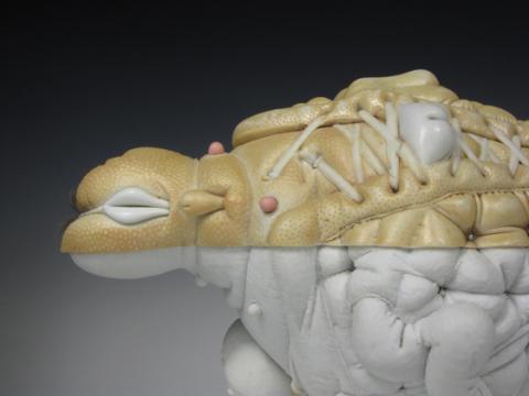 """Jason Biggs, """"Peel,"""" porcelain, hair, steel (base:  panties, steel), 9"""" x 15"""" x 10"""", 2011."""