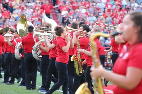 The Cornhusker Marching band at Memorial Stadium