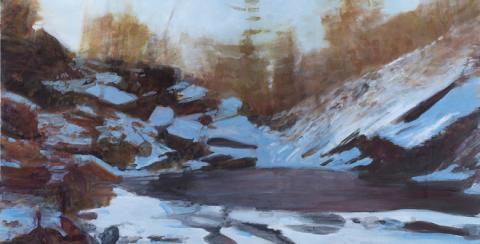 "Dean Dass, ""Blue Hole,"" 2013, oil, unique work. 32"" x 48""."
