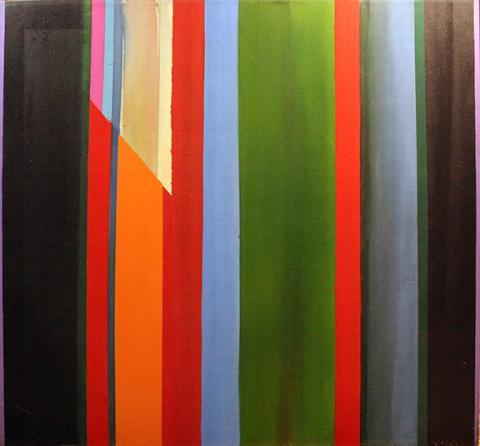 "James Eisentrager, ""Cru #5,"" acrylic on canvas, 64"" x 64"", 1976. Courtesy of Kiechel Fine Art."