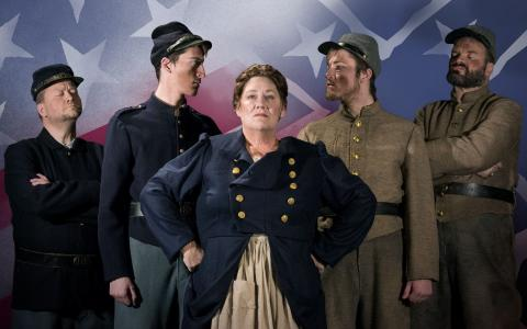 Left to Right: Jeremy Blomstedt (Recruiting Officer), Cullen Wiley (Soldier), Moira Mangiameli (Mother Courage), Cameron Currie (Soldier), Joseph S. Moser (General McClellan). Photo by Sabrina Sommer.
