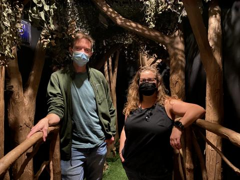 """Andy Park and Jill Hibbard stand inside the immersive world of """"ShakesFear,"""" which opens Oct. 15 in the Studio Theatre."""