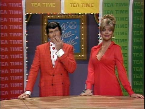 """Teresa Ganzel with Johnny Carson in a Tea Time Movies with Art Fern sketch on """"The Tonight Show."""" Courtesy photo."""