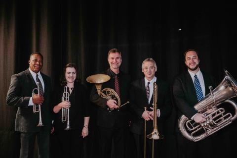 "From left: Darryl White, Catherine Sharp-Martinez, Alan F. Mattingly, Scott Anderson, Ravil ""Bo"" Atlas"