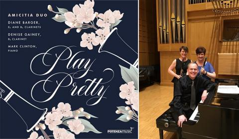 """Left: The Amicitia Duo released their first CD, """"Play Pretty."""" Right: Clockwise from upper left: Denise Gainey, Diane Barger and Mark Clinton."""