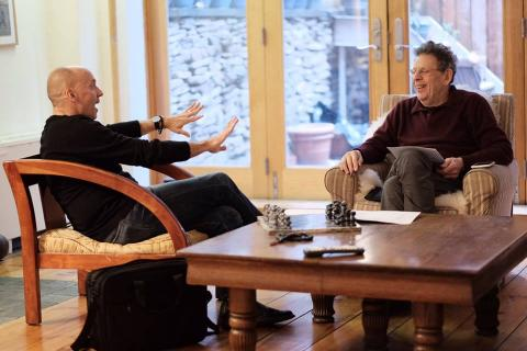 Paul Barnes (left) visits with Composer Philip Glass in New York in January. Photo by Peter Barnes/Intrepid Visuals.