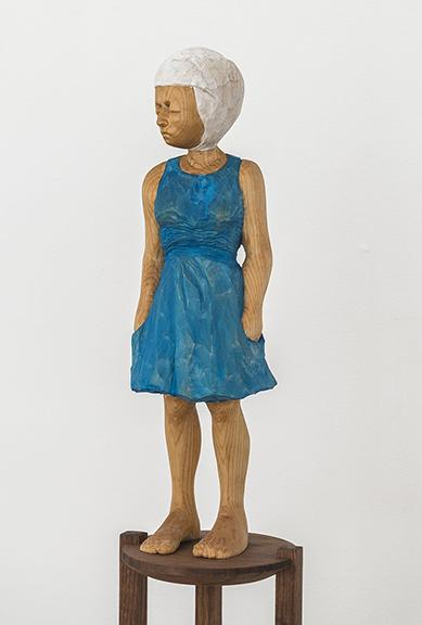 """Santiago Cal, """"Finally Free Miss T,"""" wood and watercolor, 2014. Photo by Cary Whittier."""