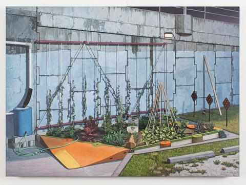 "Neil Griess, ""Dead End Garden,"" 2012-2014, acrylic on panel, 16 7/8"" x 23 1/2""."
