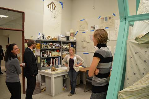 Visitors meet graduate students and tour their studios at a previous Open Studios event.