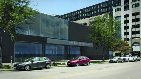An artist's rendering of the Johnny Carson Center for Emerging Media Arts shows how the exterior of the building will look when it opens in August 2019. The building is located at 1300 Q St., formerly the Nebraska Bookstore. Courtesy of HDR.