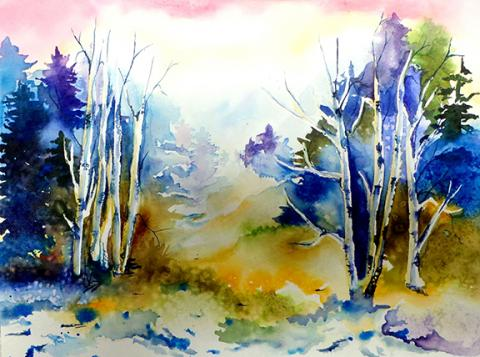 Cameron Scheele, Norris High School, Untitled, watercolor, 2014.