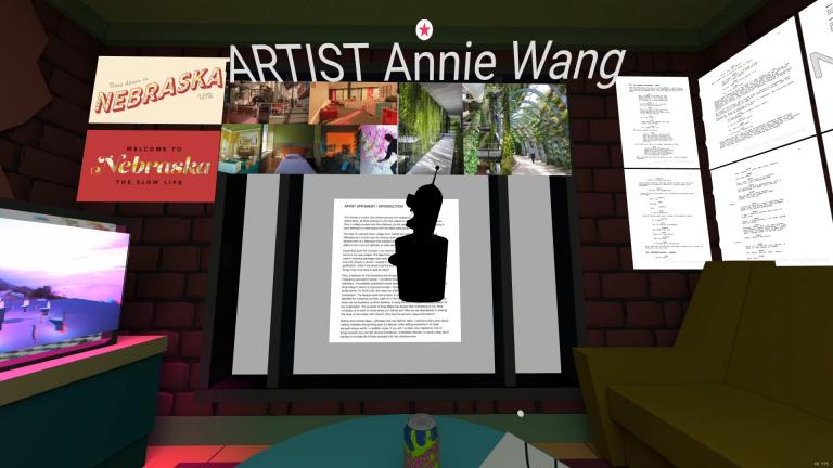EMA student Annie Wang inside her virtual room. Screenshot by Ryan Holland.