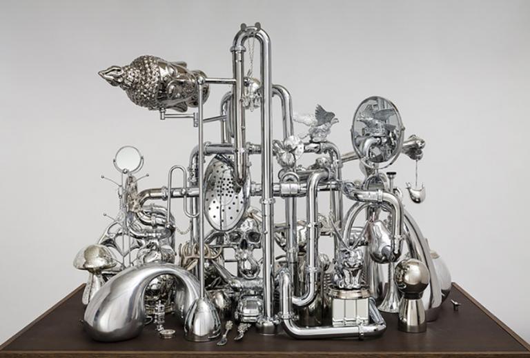"""David Baskin, """"Vanitas,"""" chrome, metal, plastic and wood, 48""""x72""""x32"""", 2017."""