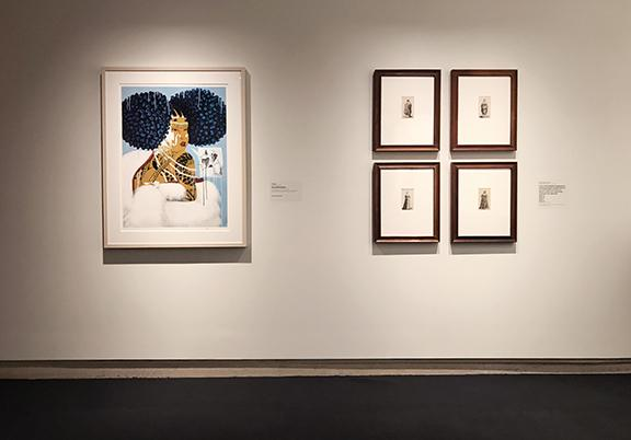"""Students in the History of Prints class created a curatorial project, comparing Rozeal's contemporary """"El Oso Me Pregunto"""" print (left) with a series of 17th century prints by Wenceslaus Hollar (right) now on display at Sheldon."""