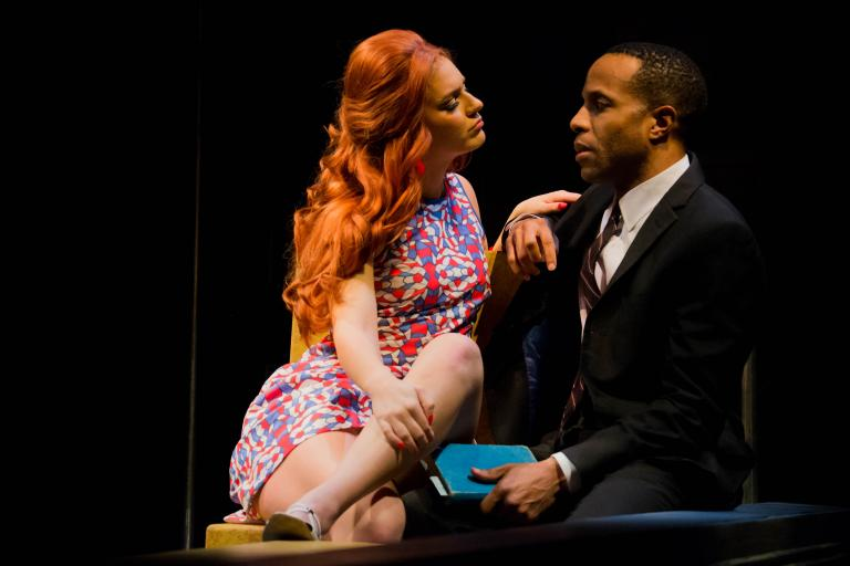 """Ron Himes, producing director of the St. Louis Black Repertory Company, directed the play """"Dutchman"""" — featuring Emily Raine Blythe and Eugene H. Russell IV (pictured) — at the Nebraska Repertory Theatre in February 2019. Himes will serve as consultant for the new two-year collaboration between Nebraska Rep and The Black Rep. Photo by Sabrina Sommer."""