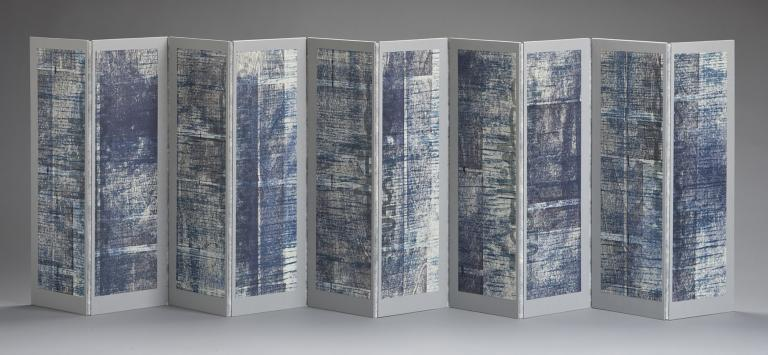 """Lynne Avadenka, """"Comes and Goes VI,"""" 2010 (one side), relief and letterpress printing, typewriting on mixed media."""