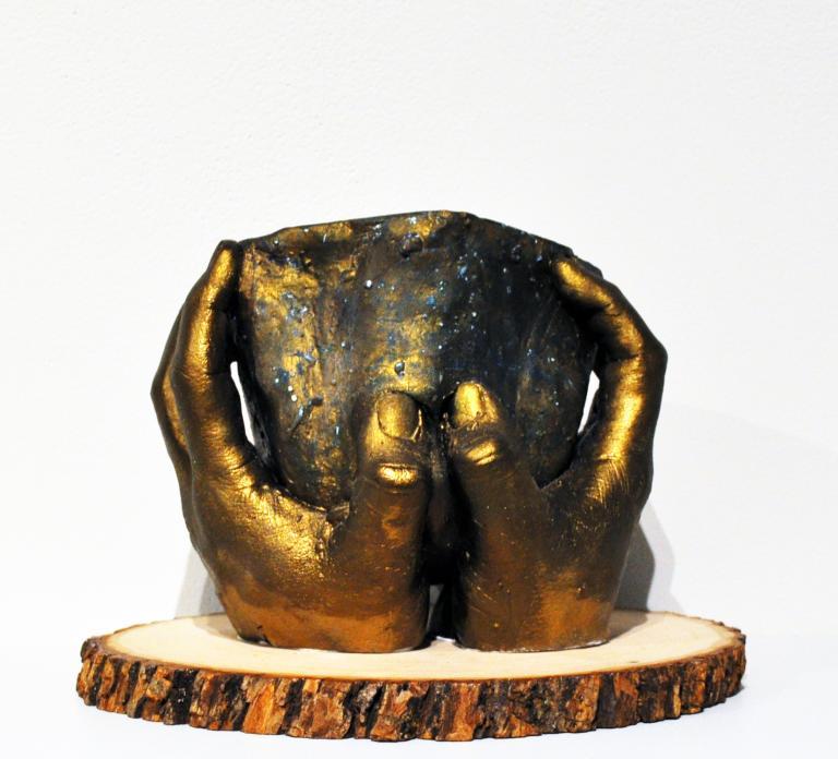 """Breanna Brennfoerder, Sandy Creek, """"Potter's Hands,"""" mixed media sculpture, 7"""" x 10.5"""" x 10.5"""", 2019."""