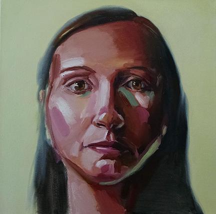 "Brain Coate, ""Kalee,"" oil on canvas, 18"" x 18"", 2014."