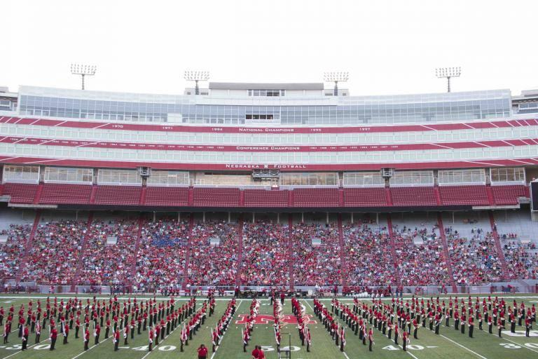 The Cornhusker Marching Band at Memorial stadium, the Cornhusker Marching Band resides in the Glenn Korff School of Music