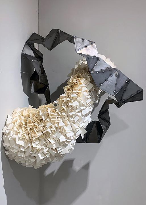 """Matt Carlson, Untitled, steel and paper, 38"""" x 44"""" x 27"""", 2021."""
