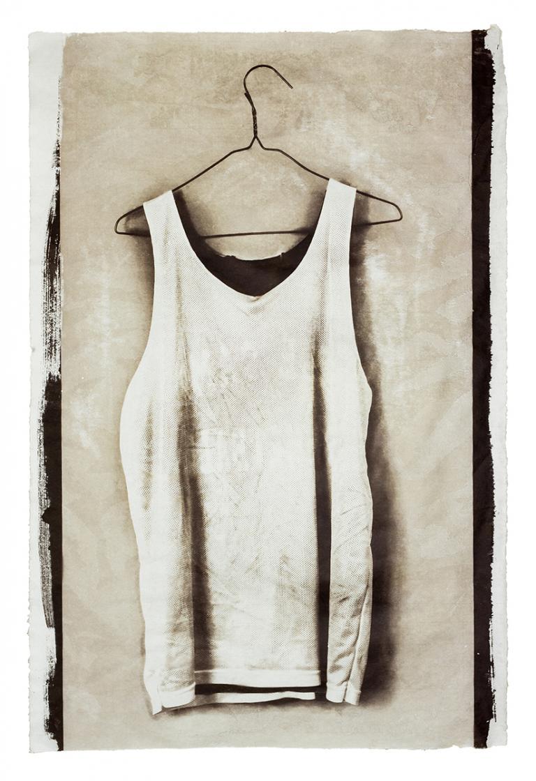 "Chadric Devin, ""Practice Jersey,"" Van Dyke brok print on Mulberry, 38 x 25"", 2013"