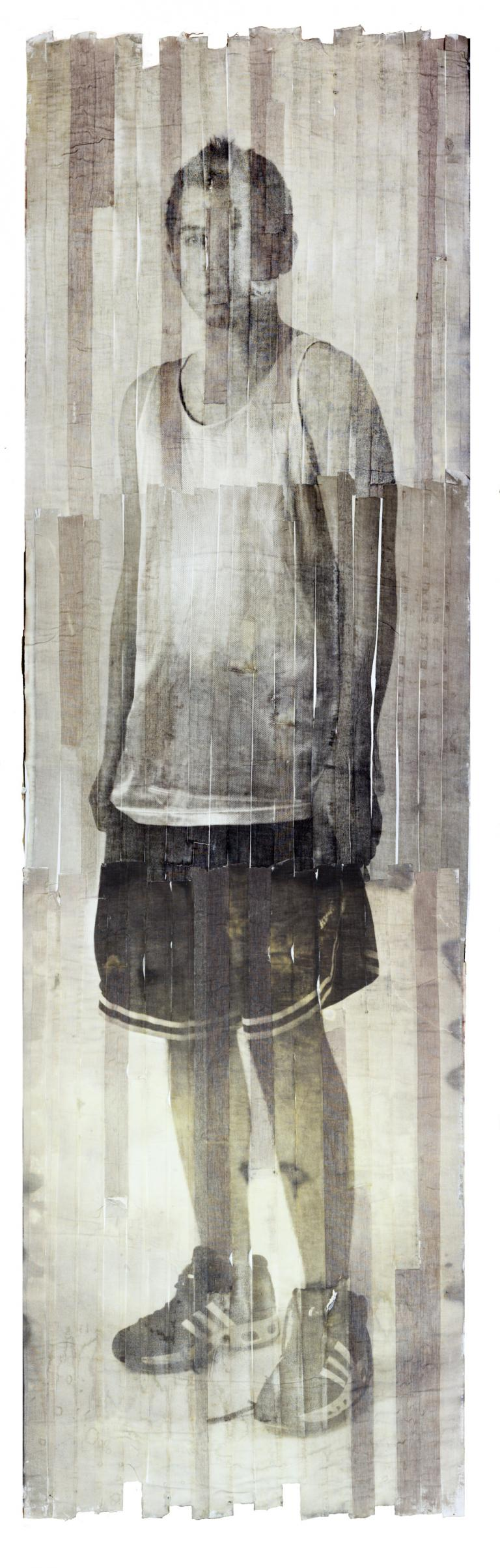 "Chadric Devin, ""Self Portrait,"" Van Dyke brown print on athletic tape, 82 x 24"", 2013."