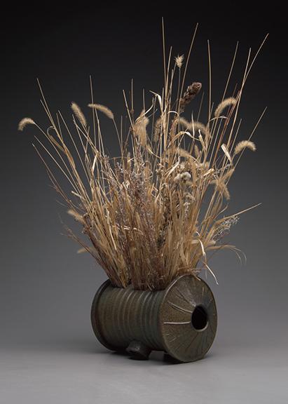 "Kyle Cippera, ""Silo with grasses,"" soda-fired stoneware."