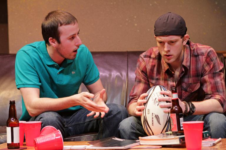 "Thomas Boyle (left) and Spenser Stokes in University Theatre's ""Really Really"""