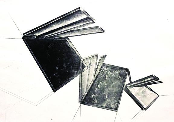 """Amanda Durig, """"Impossible Alternatives,"""" line etch, aquatint, soap ground on paper mounted to panel, 25 ¾"""" x 17 ¾"""" x 5/8"""", 2020."""