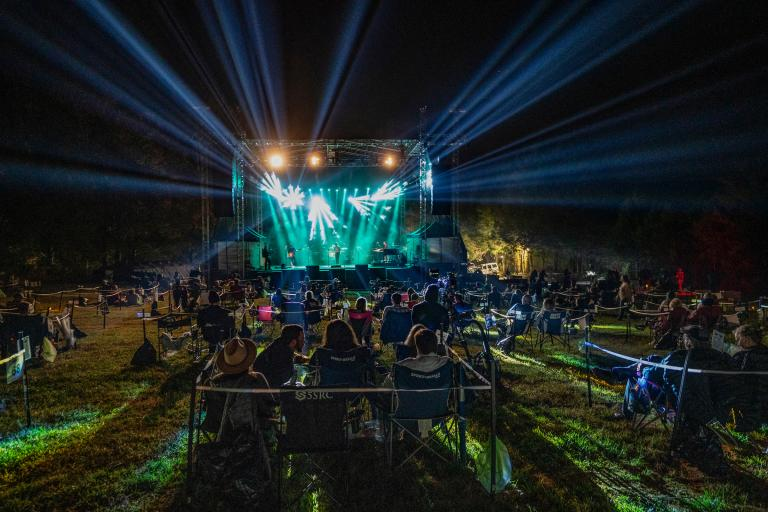 One of Taylor's clients, The Caverns, built an outdoor amphitheater to host outdoor concerts. It was one of the first venues in the world to launch a pod-based concert model. Photo by Erika Goldring.