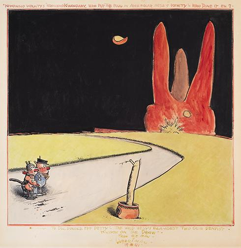 George Herriman, Krazy Kat, 1941, watercolor and ink on board, Sheldon Museum of Art, University of Nebraska–Lincoln. Gift of Dan F. and Barbara J. Howard through the University of Nebraska Foundation, U-5140.2000.