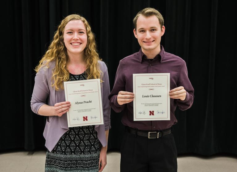Glenn Korff Distinguished Undergraduate and Graduate Artist/Scholar Award Winners: Alyssa Pracht and Louis Claussen