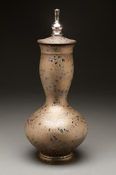 "Seth Green, Ceremonial Jar, reduction-fired stoneware, glaze, white gold luster, 17"" x 6"" x 6"", 2016."