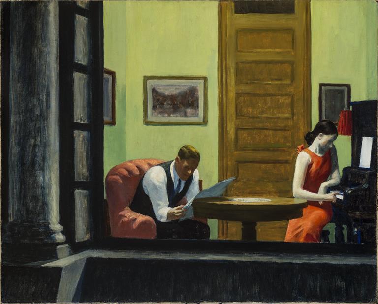 """Edward Hopper, """"Room in New York."""" Sheldon Museum of Art, University of Nebraska–Lincoln, Anna R. and Frank M. Hall Charitable Trust, H-166.1936."""
