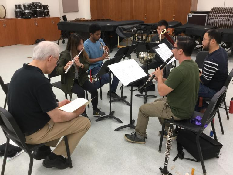 The Cal State Fullerton Woodwind Quintet works with coach William McMullen of the Glenn Korff School of Music as part of the Chamber Music Institute.