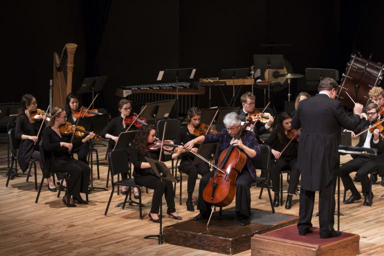 Karen Becker performs with the Symphony Orchestra