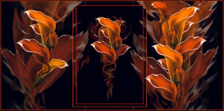 "Anna (Temmers) Ilvess-Barber, ""Lilies on Fire,"" digital art, 26"" x 42"", 2009."