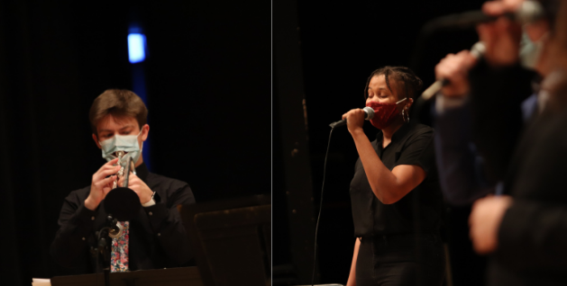 Jazz Orchestra trumpet player Ben Waxberg (left) and Jazz Singer Brannon Evans perform as part of the Fall 2020 concert.