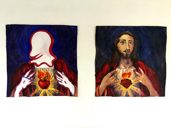 "Michael Johnson, ""Wiggle Jesus"" (diptych), oil paint on gessoed cardboard, 60"" x 60"", 2019."