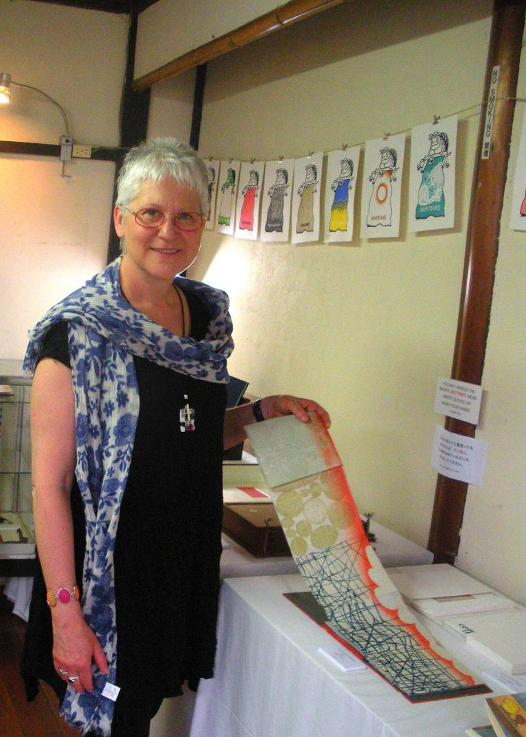 Karen Kunc in Japan for the 1st International Mokuhanga Conference in 2011.
