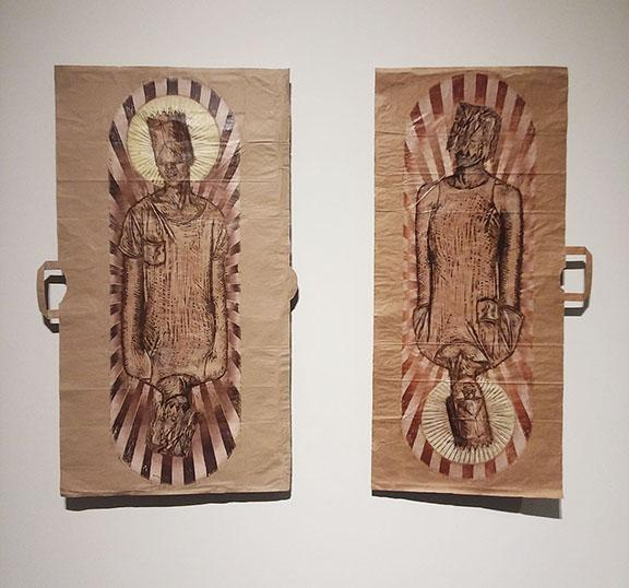 "Katharen Wiese, ""Unclassified,"" relief print on paper bags, dimensions vary, 2018."