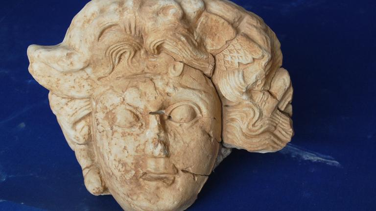 A slightly larger than life-sized head of Medusa recently discovered at the Antiochia ad Cragum archaeological site in Turkey.