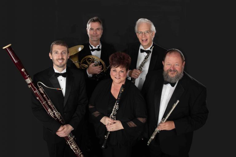 (from left): Nathan Koch, bassoon; Alan Mattingly, horn; Diane Barger, clarinet; William McMullen, oboe: John Bailey, flute