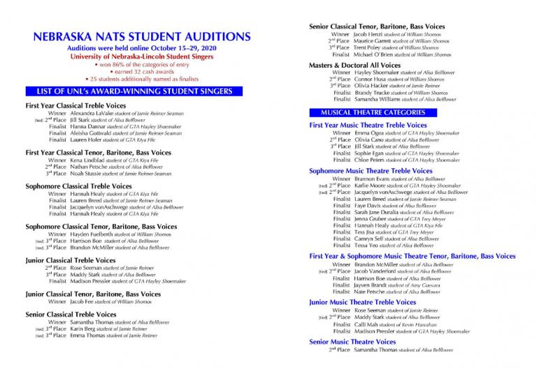 Nebraska NATS Student Auditions