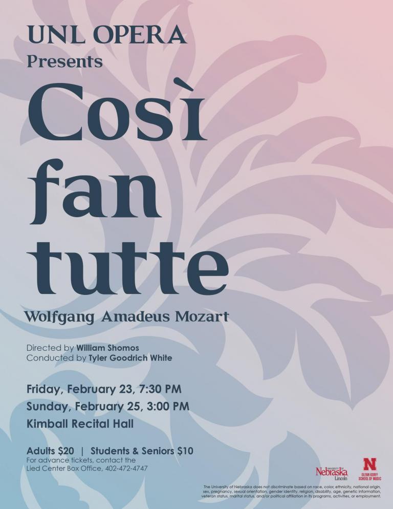 "Wolfgang Amadeus Mozart's opera ""Così fan tutte"" poster"