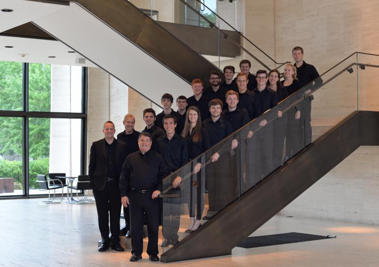 UNL Percussion Ensemble with director Antony Falcone and Dave Hall