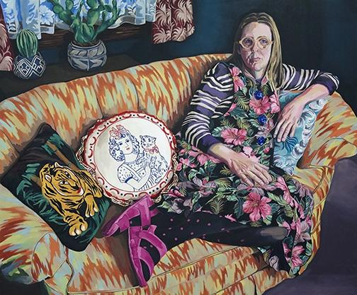 Phoebe Little, In Her Living Room, oil on canvas, 2014.