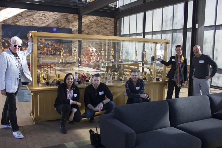 Left to right:  Brendan Harkin, Swetha Gadwal, Mike Hamilton, Tyson Fiscus, Megan Elliott and Rick Endacott at Pixar Animation Studios. Photo by Joe Starkey.