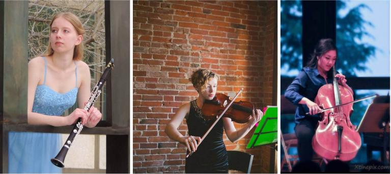 Play with the Chiara Finalist: Hannah Bell, clarinet; Jordan Ellis, viola; Jennifer Son, cello.